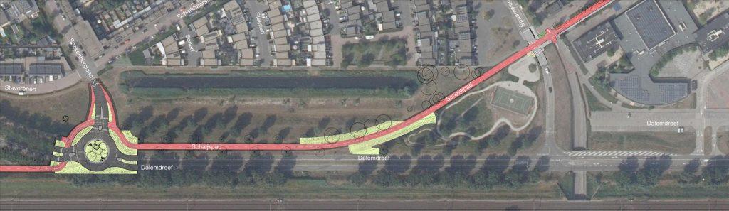 Ontwerp van het fietspad voor het Schaijkpad (deel 2) en de rotonde
