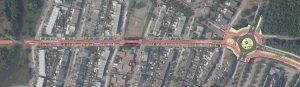 Ontwerp van het fietspad voor het Oostburgstraat en Campenhoefdreef met aan het eind een rotonde