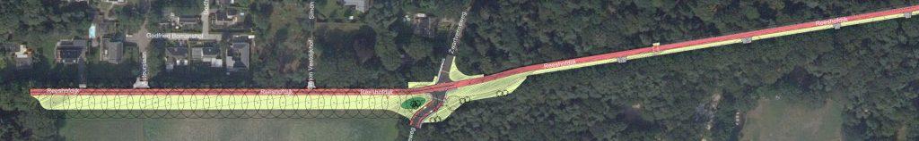 Ontwerp van het fietspad voor het tweede gedeelte van Reeshofdijk