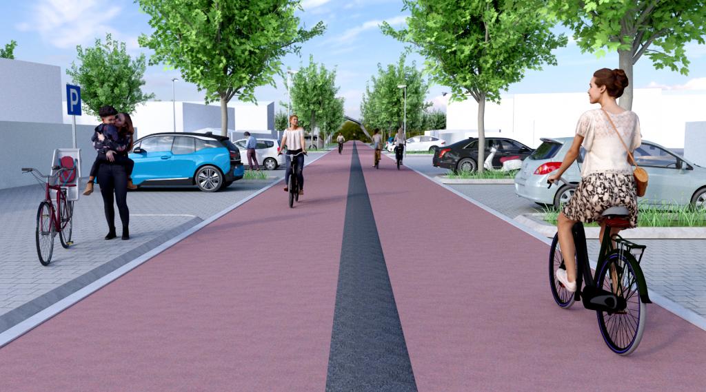 Digitale impressie hoe een fietspad met een middengeleider in de Oostburgstraat eruit zal zien