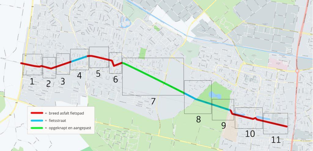 Kaart van de snelfietsroute onderverdeeld in 11 vakken. Elk vak is aangeduid met een nummer
