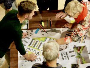 Tijdens de bijeenkomst konden bewoners zelf schetsen en meedenken over het ontwerp