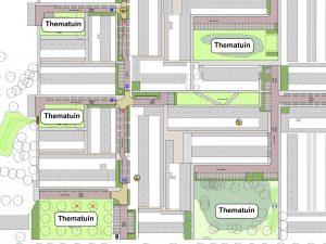 Foto van het ontwerp en de locaties van de vijf thematuinen