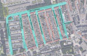 Overzicht straten binnen het projectgebied