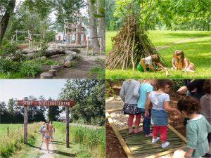 Vier afbeeldingen: blote voetpad, natuurlijke speeltuin en houten hut