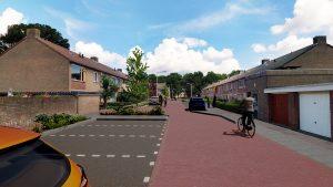 Visualisatie ontwerp Wijnruitweg: nieuwe parkeerplekken, meer groen