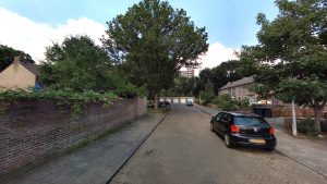Foto van huidige situatie Dovenetelhof: straat met geparkeerde auto's en bomen