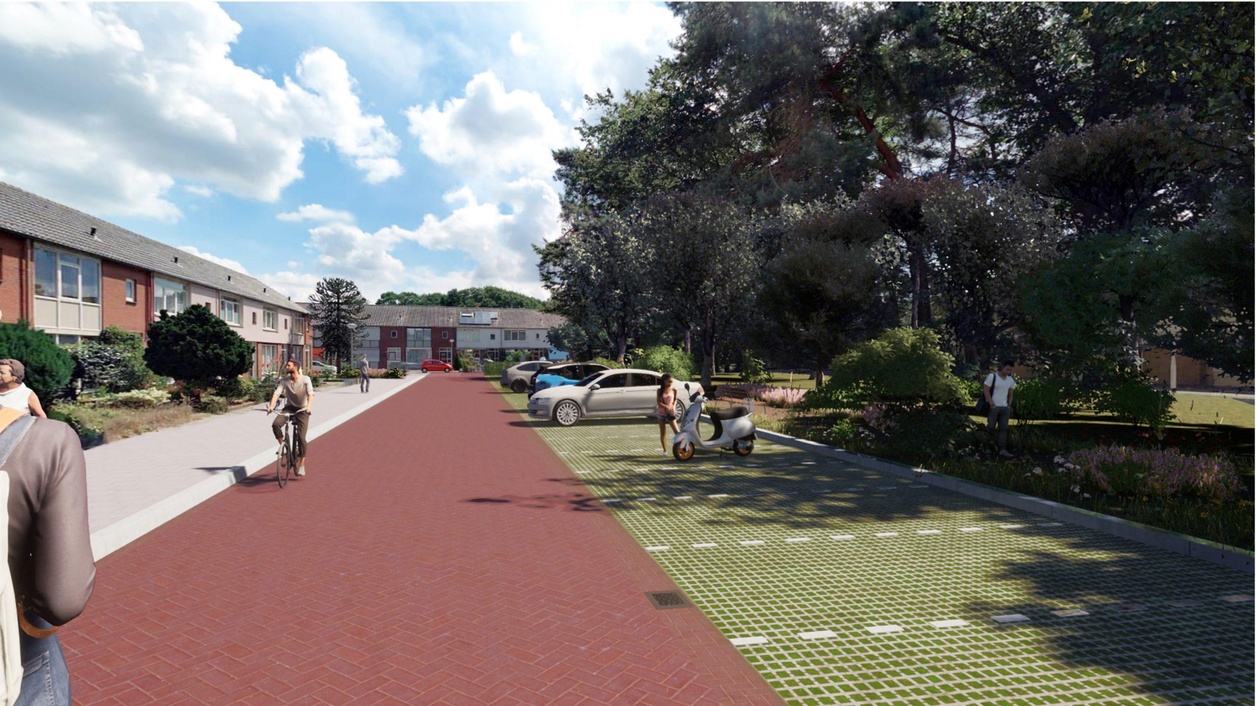 Visualisatie ontwerp Lepelkruidhof: duidelijke parkeerplekken, groen opgeknapt