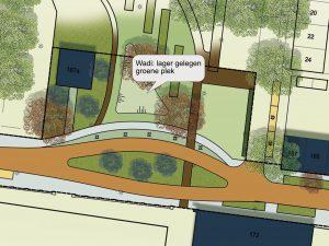Ontwerp met de wadi (lager gelegen groene plek) in het Lumenplantsoen